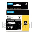 Dymo 18484 RHINO Permanente Polyester Tape zwart op wit 19mm