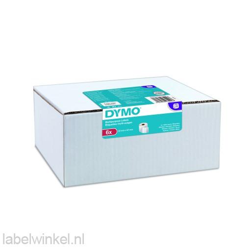 Dymo 2093094 etiket 6-pack 32x57mm wit papier, verwijderbaar
