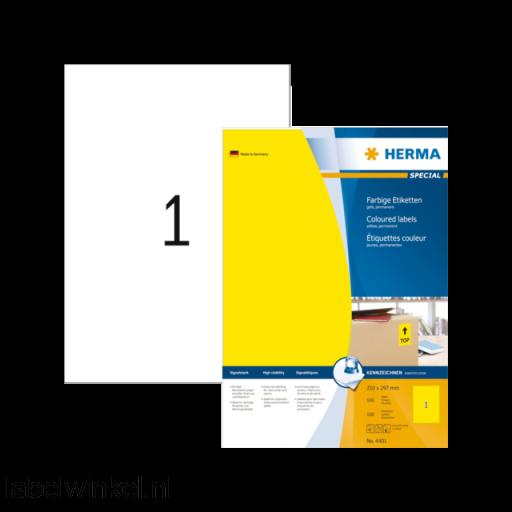 4401 etiket herma 4401 210x297mm a4 100st geel