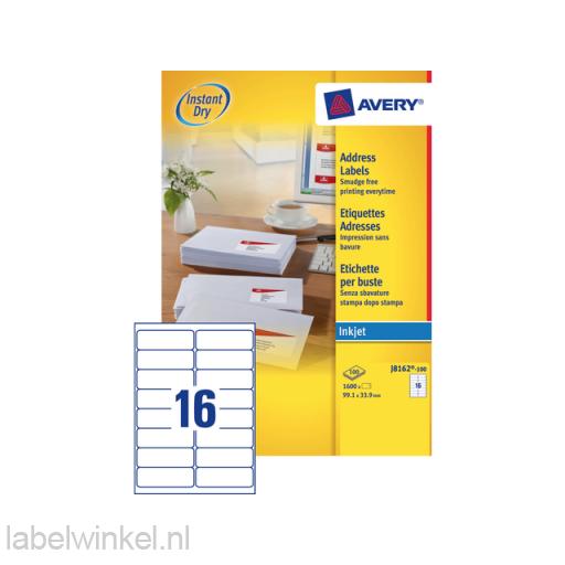 J8162-100 etiket avery j8162-100 99.1x33.9mm 1600st