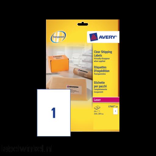 L7567-25 etiket avery l7567-25 210x297mm 25st transp