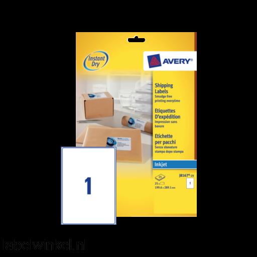 J8167-25 etiket avery j8167-25 199.6x289.1mm 25st