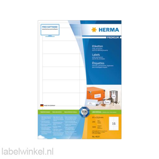 4619 etiket herma 4619 96.5x33.8mm premium a4 3200st