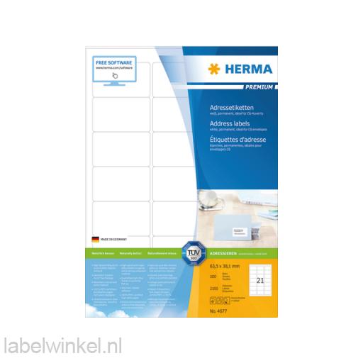 4677 etiket herma 4677 63.5x38.1mm premium a4 2100st