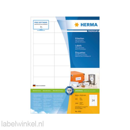 4262 etiket herma 4262 64.6x33.8mm premium a4 2400st