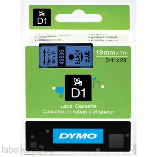 Dymo 45806 D1 Tape 19mm x 7m zwart op blauw