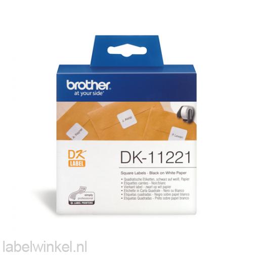 DK-11221 Vierkant label 23 mm x 23 mm - wit