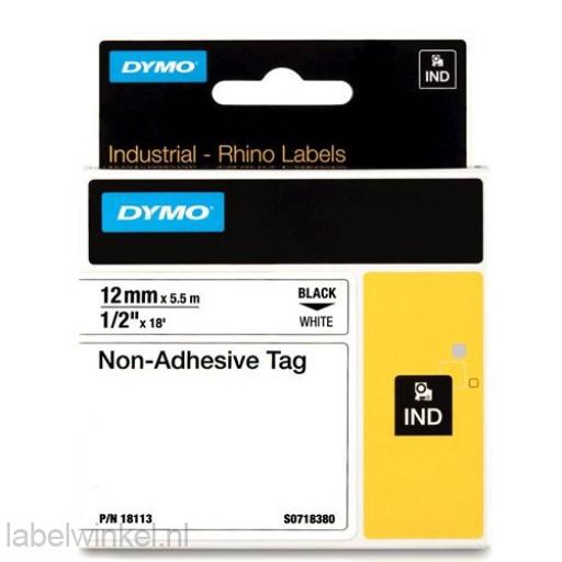 Dymo RHINO 18113 Niet-hechtende etiketstrook zwart op wit 12mm