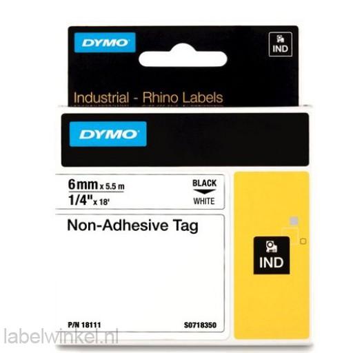 Dymo RHINO 18111 Niet-hechtende etiketstrook zwart op wit 6mm
