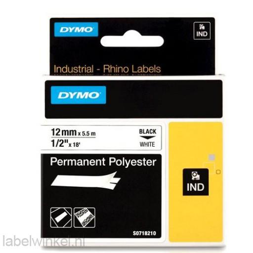 Dymo RHINO 18483 Permanente Polyester Tape zwart op wit 12mm