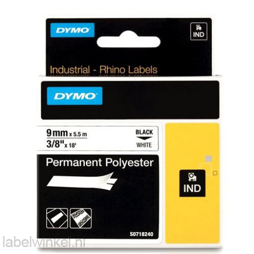 Dymo RHINO 18482 Permanente Polyester Tape zwart op wit 9mm