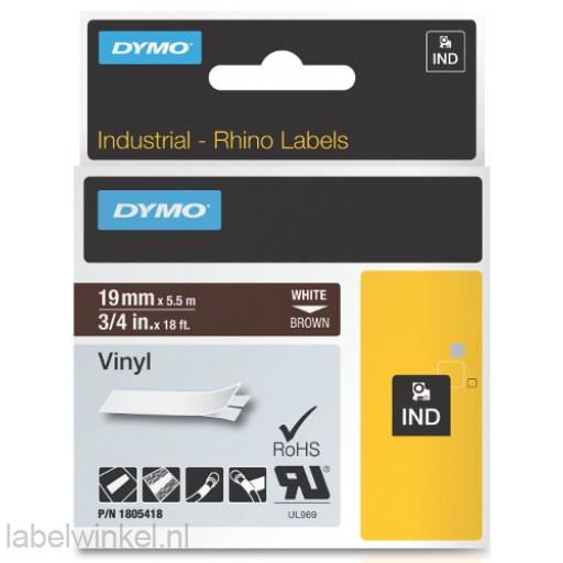 Dymo RHINO 1805418 vinyl wit op bruin 19mm