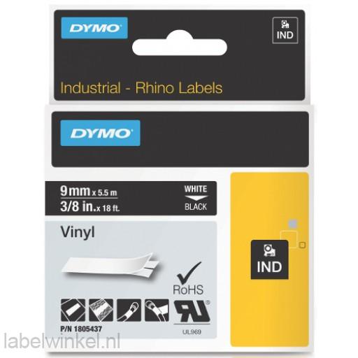 Dymo RHINO 1805437 vinyl wit op zwart 9mm