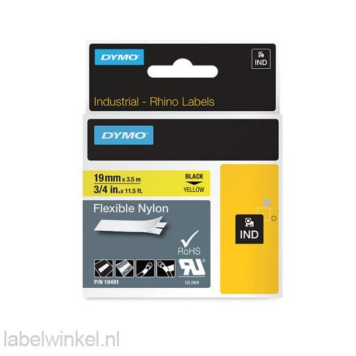 Dymo 18491 RHINO flexibele nylontape zwart op geel 19mm