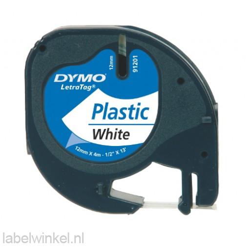 Dymo 91201 LetraTag plastic tape zwart op wit 12mm