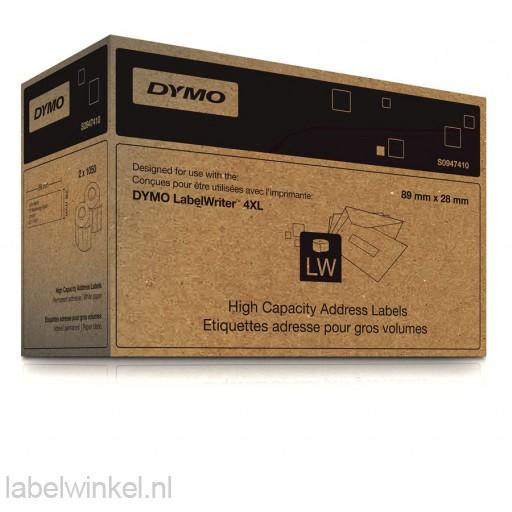 Dymo adresetiketten 28x89mm groot volume voor 4XL