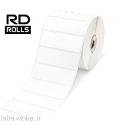 RD-S04E1 Gestanst papier etiket 26 x 76mm - wit  - verwijderbaar