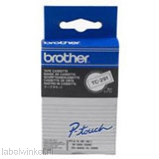 Brother TC-291 Tape Zwart op wit, 9mm.