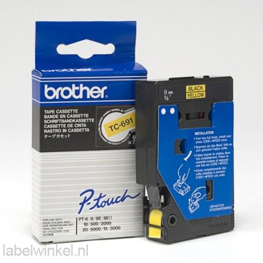 TC-691 Brother tape zwart op geel 9mm breed