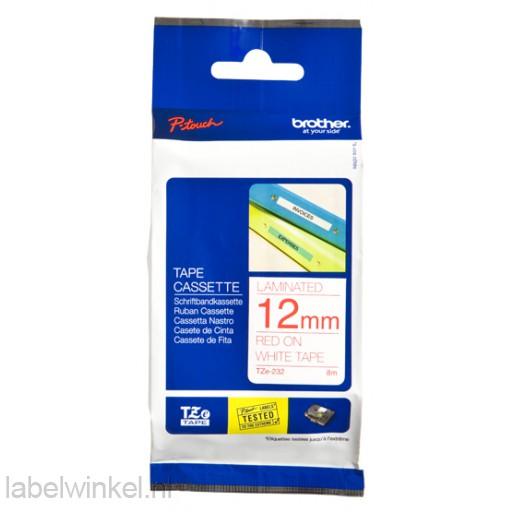 TZe-232 12mm rood op wit