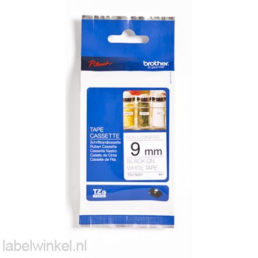 TZe-N221 9mm niet-gelamineerd zwart op wit