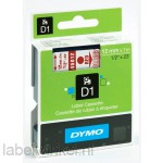 Dymo 45012 D1 Tape 12mm x 7m rood op transparant