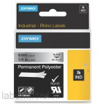 Dymo RHINO 1805441 permanent polyester zwart op metallic 6mm