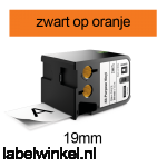 DYMO 1868767 XTL universele vinyl tape 19mm zwart op oranje