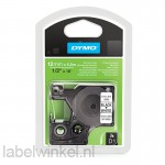 Dymo 16959 D1 Permanent Polyestertape 12mm zwart op wit