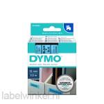 Dymo 45016 D1 Tape 12mm x 7m zwart op blauw