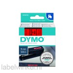 Dymo 40917 D1 Tape 9mm x 7m zwart op rood