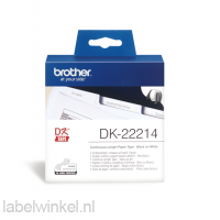 DK-22214 Doorlopende papier tape 12mm x 30,48m - wit - zelfklevend