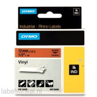Dymo RHINO 18435 Gekleurd Vinyl zwart op oranje 12mm