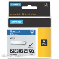 Dymo RHINO 1805423 vinyl wit op blauw 24mm