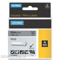 Dymo RHINO 1805425 vinyl zwart op grijs 24mm