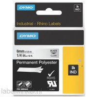 Dymo RHINO 1805440 permanent polyester zwart op transparant 6mm