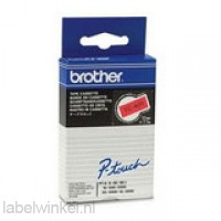 Brother TC-401 Tape Zwart op rood, 12mm.